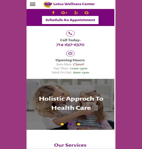 Lotus Wellness Center (Custom Website) - Kreative Tek Solutions