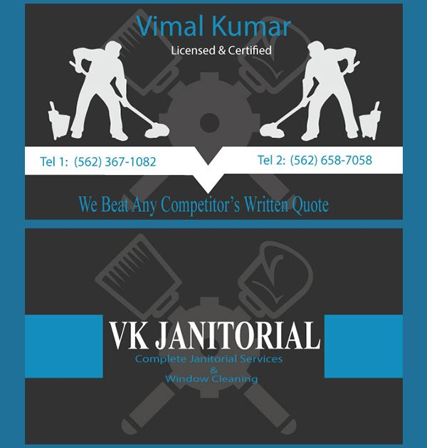 VK Janitorials (Business Card) - Kreative Tek Solutions